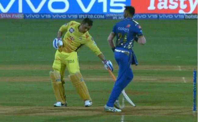 MS Dhoni Gets Mankading Warning From Krunal Pandya  - Sakshi