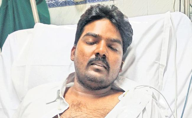 TDP leaders insulted to young man - Sakshi