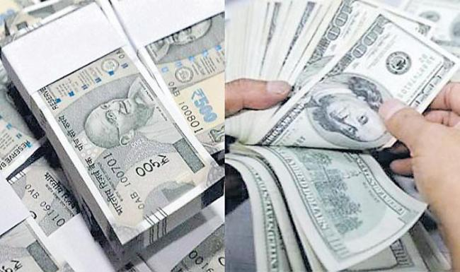 Rupee gains 13 paise to 69.97 vs USD on easing crude price - Sakshi