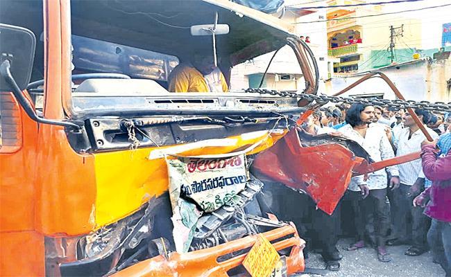 DCM Van Accident to RTC Bus in Hyderabad - Sakshi