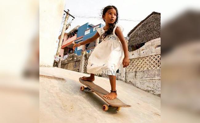 Girl Child Talent in Skating Board - Sakshi