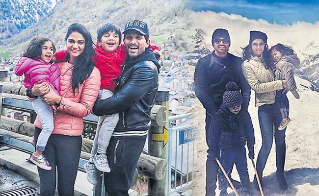 Stylish Star Allu Arjun enjoying holidays with his wife and kids - Sakshi