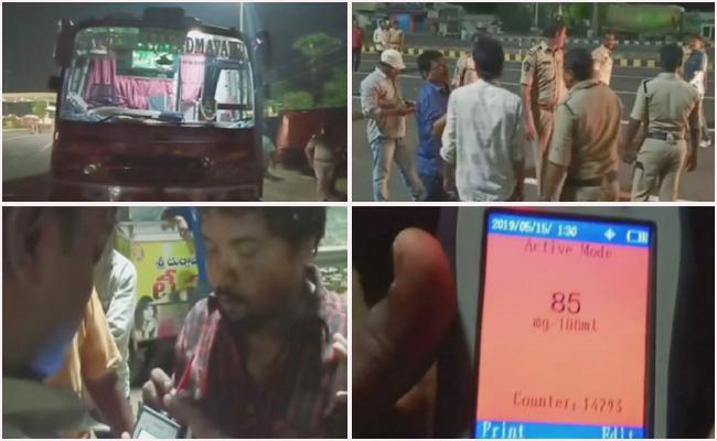 travels Bus drivers caught red handed by police for drunk driving - Sakshi