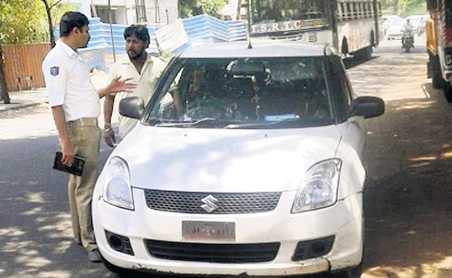 66 Challans on Car And Traffic Police Seized Car - Sakshi