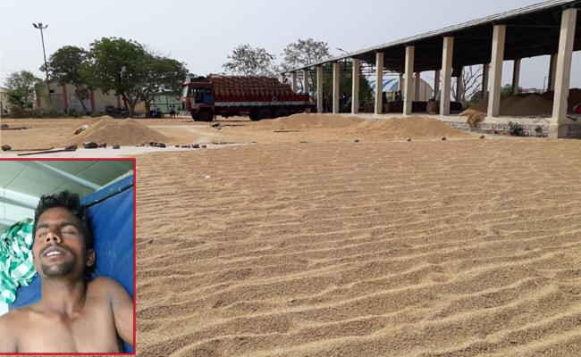 Farmer Suicide Attempt At Kondamallepally Market Yard In Nalgonda - Sakshi