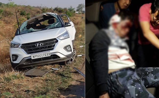 Kia Employee Died in Car Accident Anantapur - Sakshi