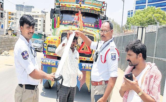 102 Challans on Lorry Truck Hyderabad - Sakshi