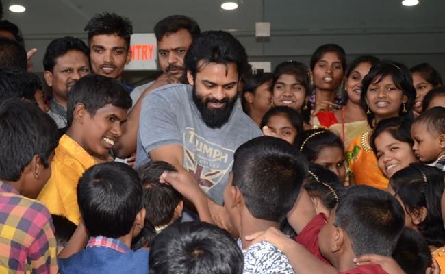 Sai Dharam Tej Arranged Avengers Special Screening for Under Privileged Kids - Sakshi