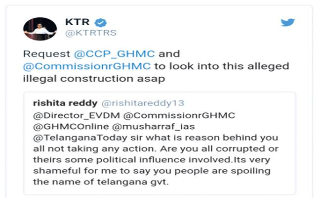 Young Women Tweet to KTR About Illegal Constructions - Sakshi