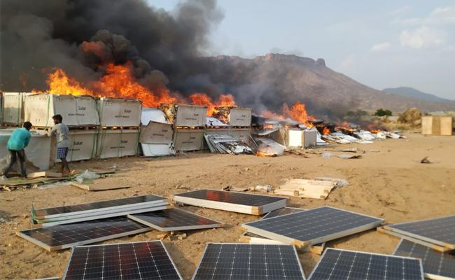 Fire Accident In Ananthapur Energy Projects Solar Plantation - Sakshi