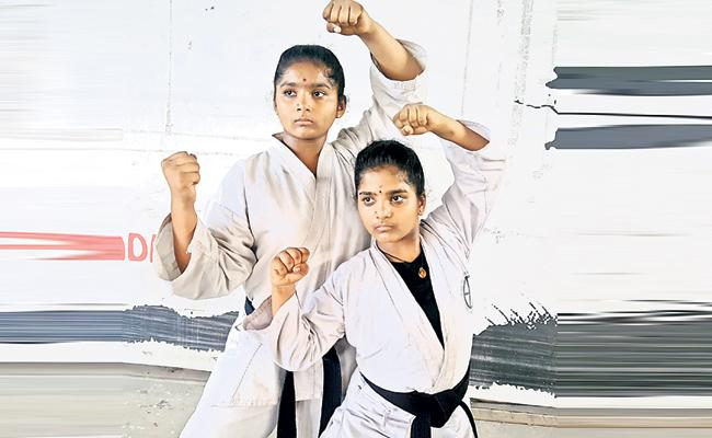 Sisters Target to World Record in Karate - Sakshi