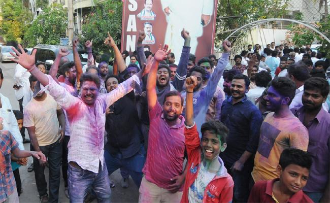 Fans Celebrated YSR Congress Party Victory - Sakshi