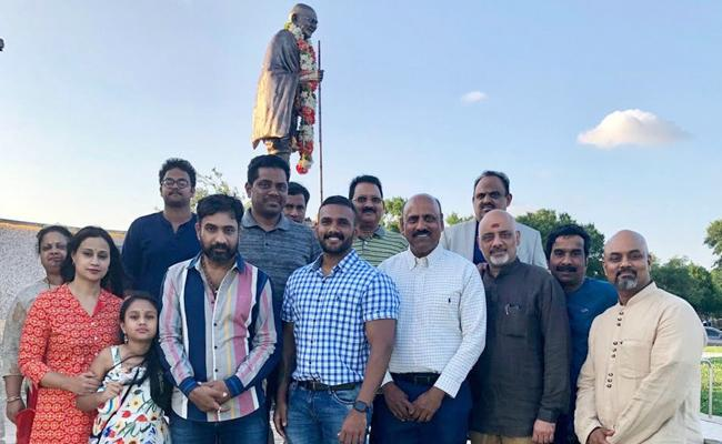 Telugu Cine Celebrities Visits Dallas Mahatma Gandhi Memorial - Sakshi