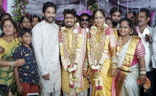 Allu Arjun Attends Asst Choreographer Wedding - Sakshi