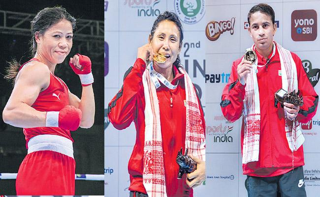 Mary Kom And Sarita Devi and Amit Panghal clinch gold on final day - Sakshi