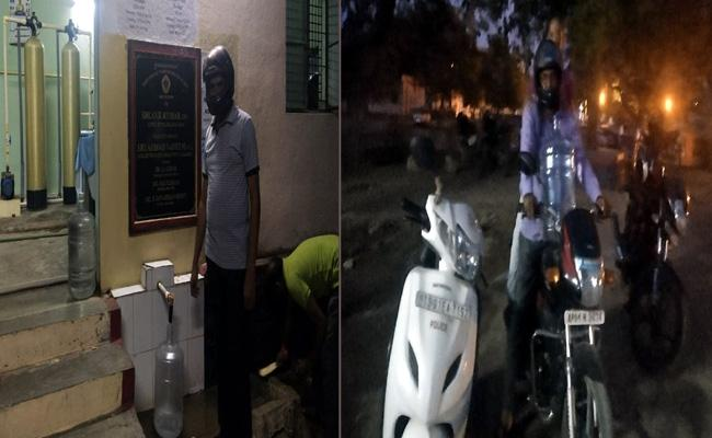 Helmet Compulsory For Taking Drinking Water In Adilabad Police Headquarter - Sakshi
