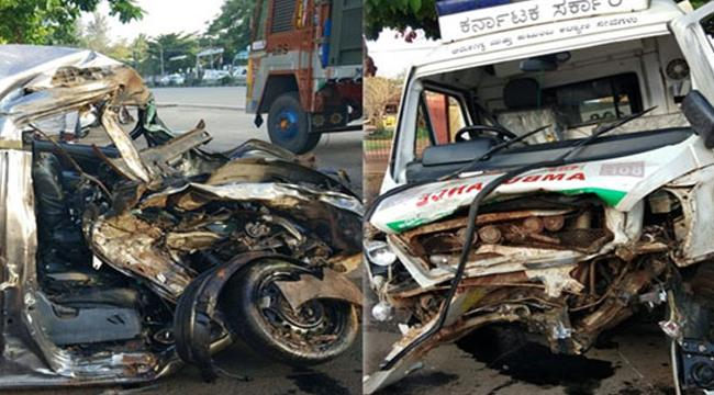 5 dies in Ambulence car crash in Banglore - Sakshi
