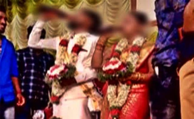 Bride And Groom Drink Beer in Wedding Hall karnataka - Sakshi