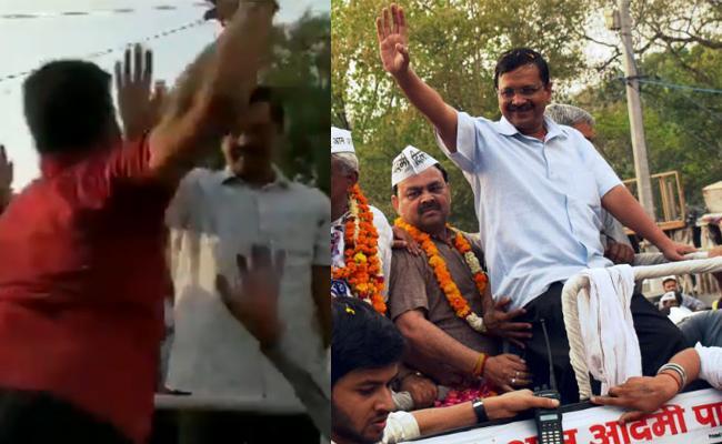 Delhi CM Arvind Kejriwal Slapped In Roadshow - Sakshi