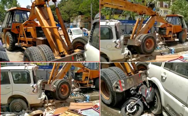 Crane Rams Into vahicals With Brake Fail at SR Nagar - Sakshi