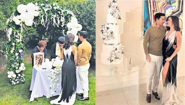 Amy Jackson and George Panayiotou celebrate engagement in london - Sakshi