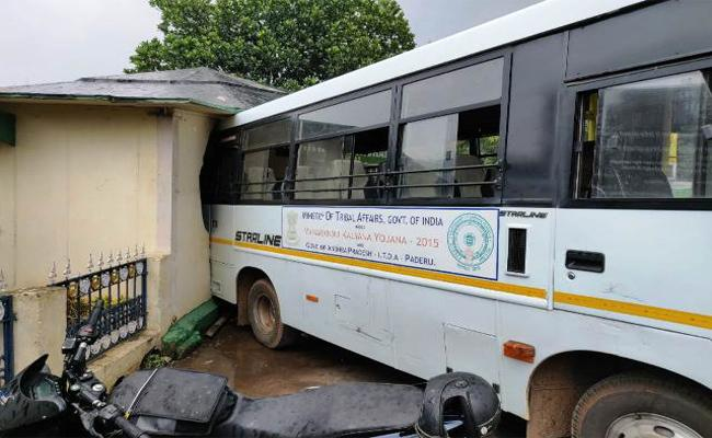 Bus Rollover in Visakhapatnam - Sakshi