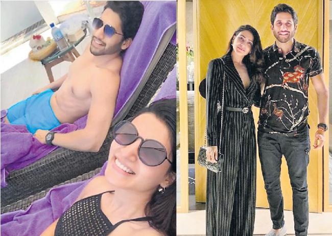 Samantha Akkineni and Naga Chaitanya enjoying their Spain - Sakshi