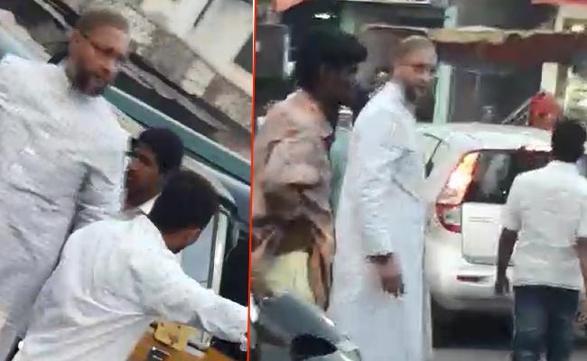Hyderabad MP Asaduddin Owaisi Clears Traffic At Old City - Sakshi