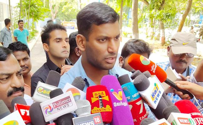 Vishal Attend Kanchipuram Crime Branch Police Inquiry - Sakshi