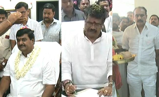Avanti Srinivas Balineni Srinivas Reddy And Dharmana Krishna Das Taking Charge As Ministers - Sakshi