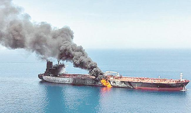 Two oil tankers attacked in Gulf of Oman - Sakshi