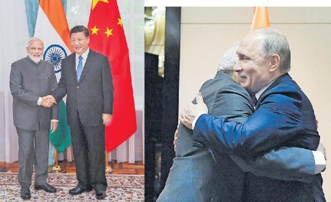 PM Modi meets Xi Jinping, Vladimir Putin and Ashraf Ghani at Bishkek - Sakshi