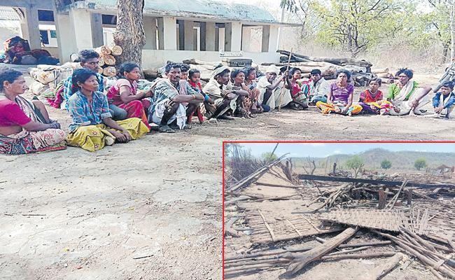 Forest Officers Removed Houses Of Tribals In Kagaznagar - Sakshi