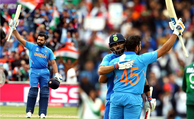 Rohit 2nd Indian After Kohli to Hit World Cup Century Against Pak - Sakshi