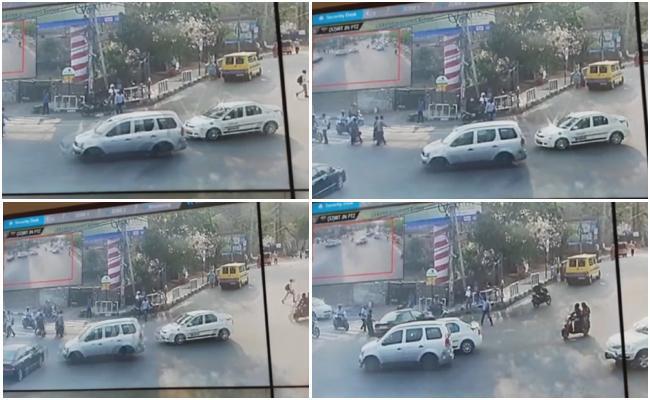 Car Rams Into Pedestrians At Gachibowli Triple IT Junction - Sakshi