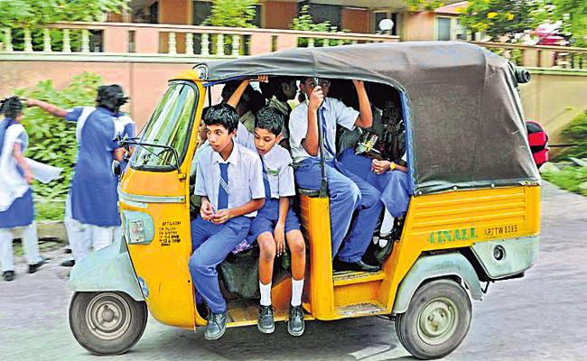 Students And Parents Suffering With School Transport Vehicles - Sakshi