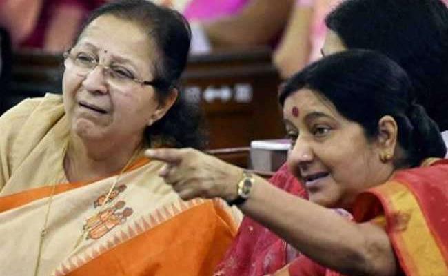 Sushma Swaraj And Sumitra Mahajan Apply For EX MP Cards - Sakshi