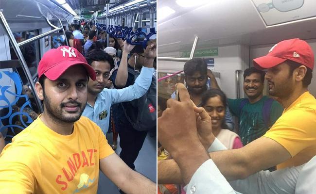 Nitin Travels In Metro Rail Due To Heavy Traffic Jam - Sakshi