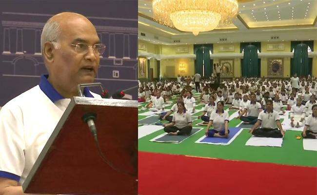 International Yoga Day President and Ministers and Celebrities Join - Sakshi