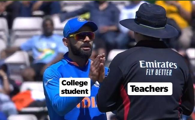 Memes Galore as Virat Kohli Pleads With Folded Hands to Umpire Over DRS Call - Sakshi
