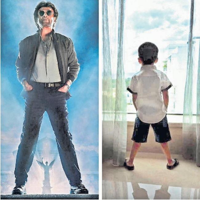 Rajinikanth Grandson Nails Actor Petta Pose Like A Boss - Sakshi