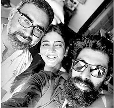 Shruti Haasan hangs out with Rana Daggubati and Prakash Kovelamudi - Sakshi