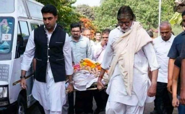Viral news Amitabh Bachchan holding a stretcher carrying a body - Sakshi