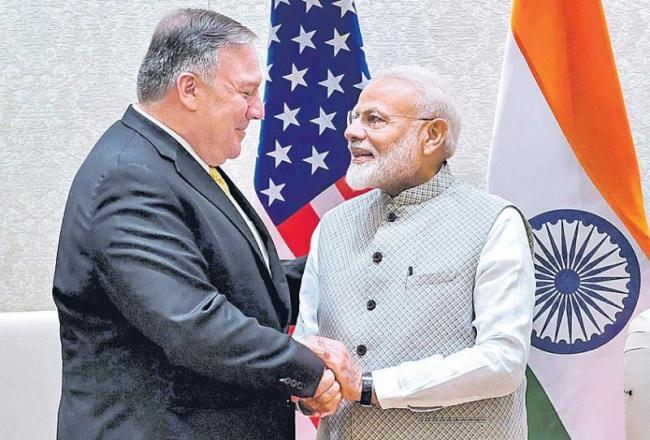 Mike Pompeo meets PM Narendra Narendra Modi - Sakshi