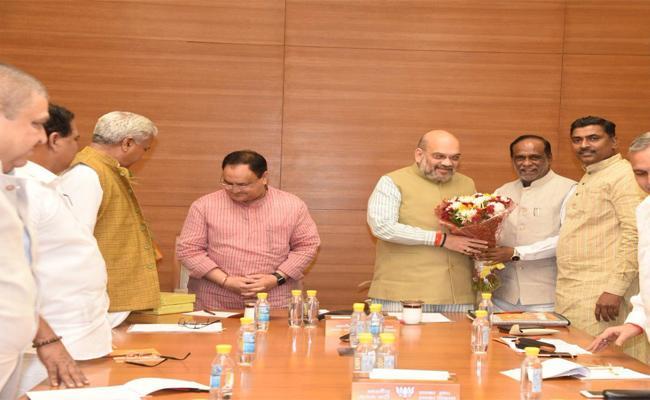 Telangana BJP Leaders Meeting In New Delhi With Amit Shah And Nitin Gadkari - Sakshi