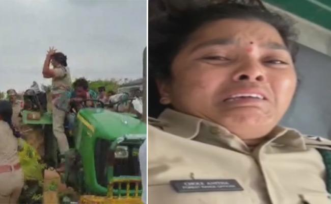 TRS workers rain blows on woman forest ranger Anitha, Case filed  - Sakshi