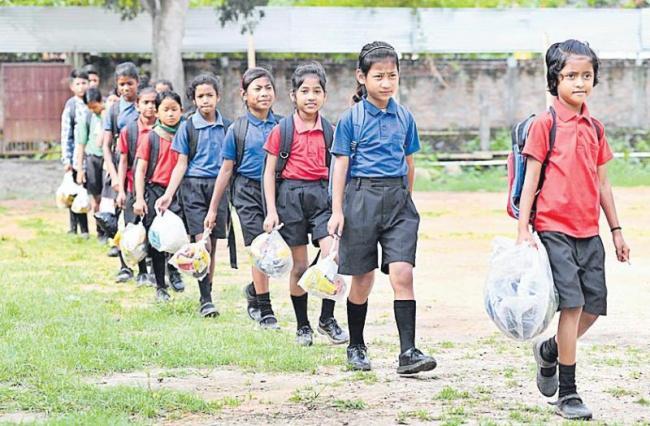Akshar Forum school in Assam demands waste plastic as fees - Sakshi