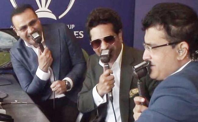 Sachin Tendulkar Fun With Ganguly And Sehwag In Commentary Box - Sakshi