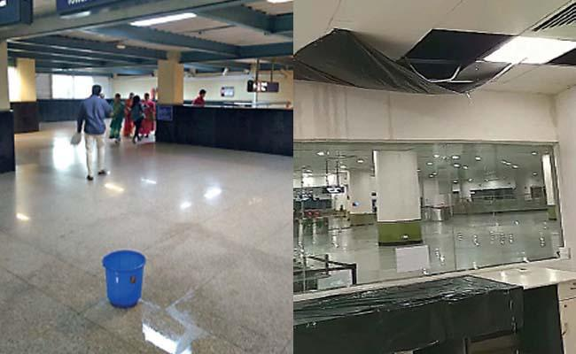 Rain Water Leaks In Bangalore Majistic Metro Station  - Sakshi