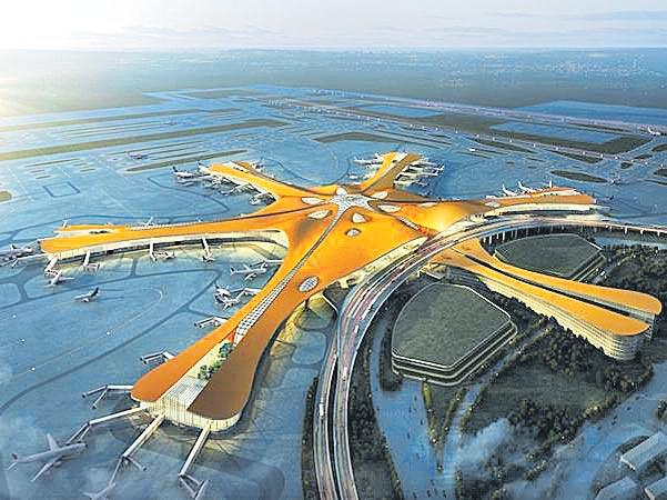 Giant Beijing starfish airport set to open on eve of China 70th birthday - Sakshi